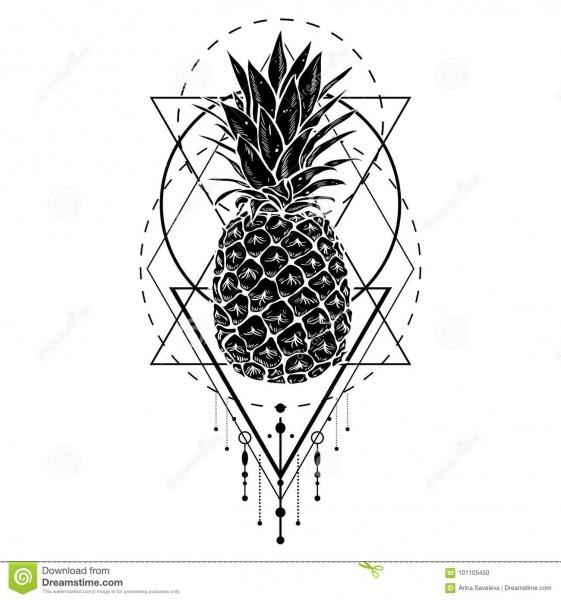 Imagem Do Fruto Branco Preto Do Abacaxi Com Figuras Geométricas
