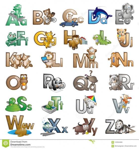 Letras Do Alfabeto Com Personagens De Banda Desenhada Ilustração