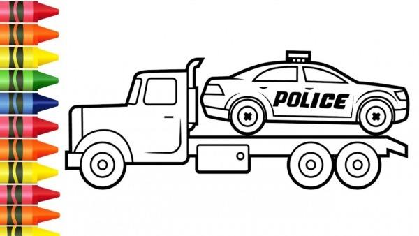 Colorir Desenhos De Caminhão E Carro De Policia Para Pintar