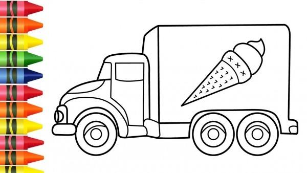 Desenho De Caminhão De Sorvete Para Colorir E Pintar Infantil