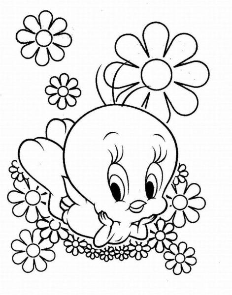 Piu Piu Deitado Nas Flores – Desenhos Para Colorir