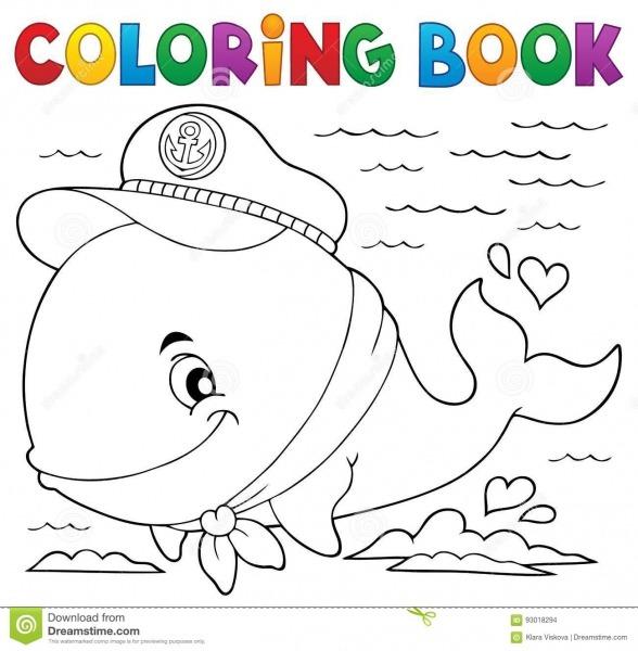 Tema 1 Da Baleia Do Marinheiro Do Livro Para Colorir Ilustração Do