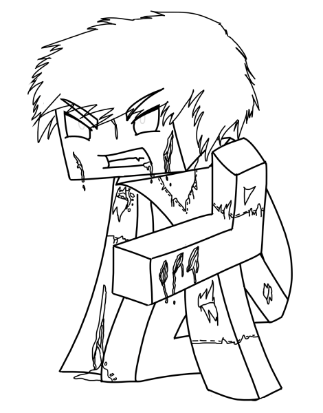 Desenhos De Zumbi Steve Minecraft Para Colorir E Imprimir