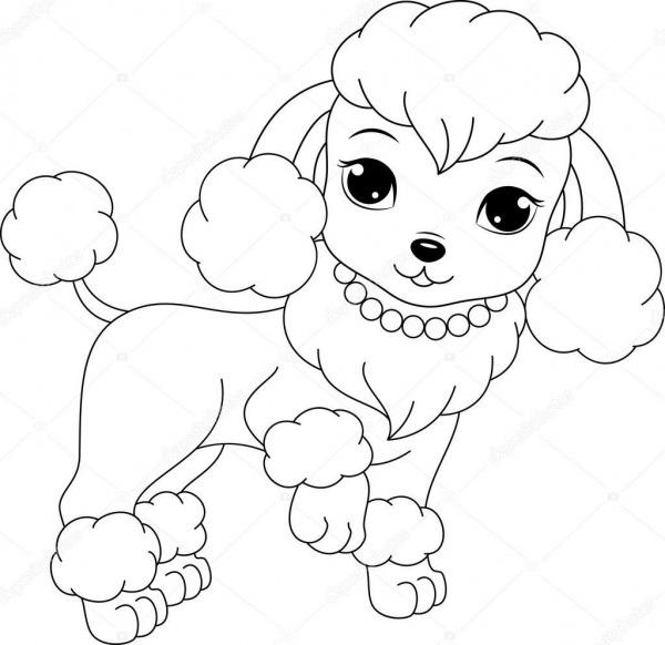 Página Para Colorir De Poodle Glamourosa