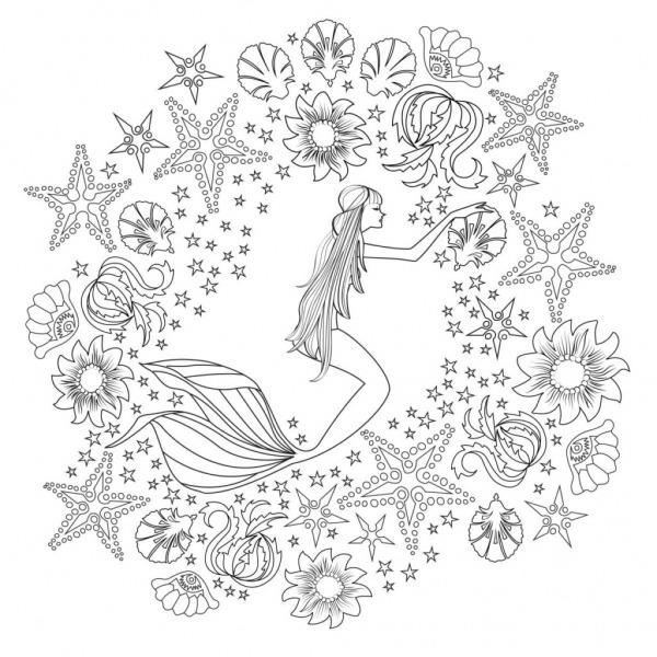 Sereia E Suas Conchas – Desenhos Para Colorir
