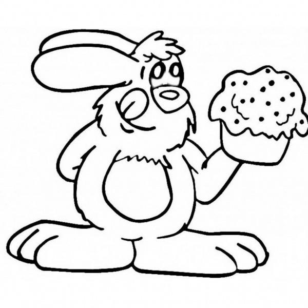 Desenho De Coelho Comendo Cupcake Para Colorir