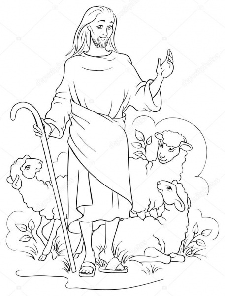 Pictures  Jesus The Good Shepherd Colouring