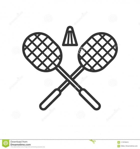 Enegreça O ícone Isolado Do Esboço De Raquetes De Badminton Com A
