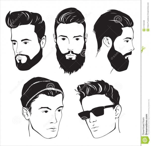 Ensemble D'homme De Mode De Hippie Avec La Barbe, La Moustache Et