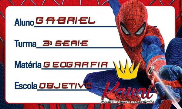 Etiqueta Escolar Homem Aranha Spiderman (para Imprimir) No Elo7