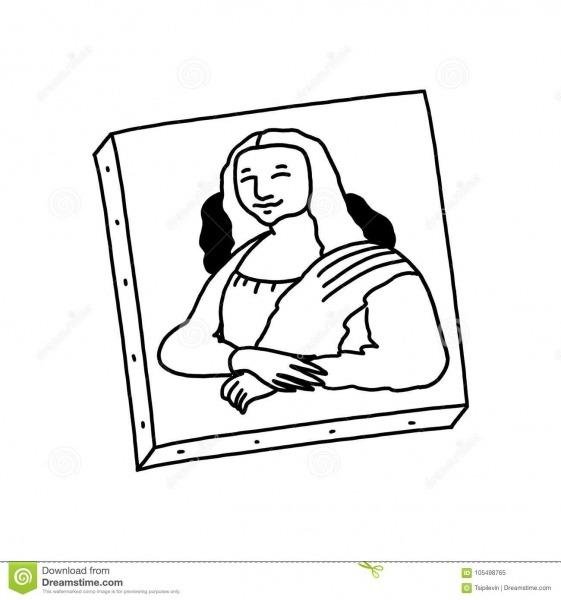 Mona Lisa Painting Black And White Illustration Stock Illustration