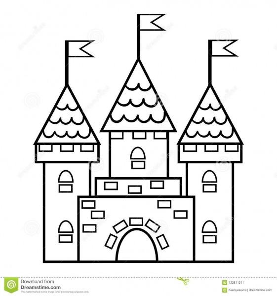 Livro Para Colorir, Castelo Ilustração Do Vetor