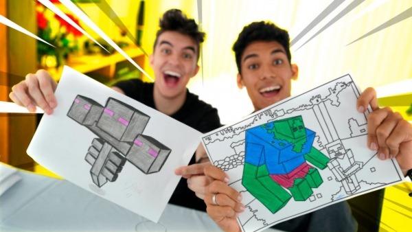 Desafio Colorindo Desenhos Do Minecraft !! (3 Marker Challenge