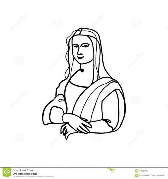 Mona Lisa Line Art Stock Vector  Illustration Of Famous