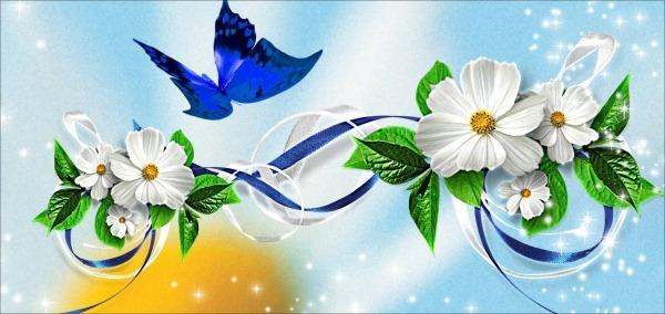 Painel Adesivo Impresso Borboletas E Flores