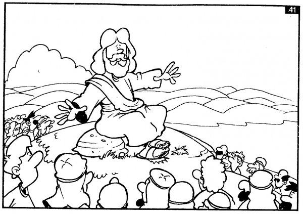 Desenho De Jesus Pregando Para Colorir