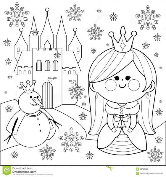 Princesa Na Neve Com Um Castelo E Um Boneco De Neve Página Do