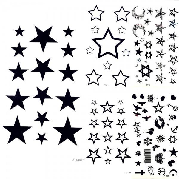 Tatuagem No Braço Linda Lua Negra Céu Estrelas Tatuagem Temporária
