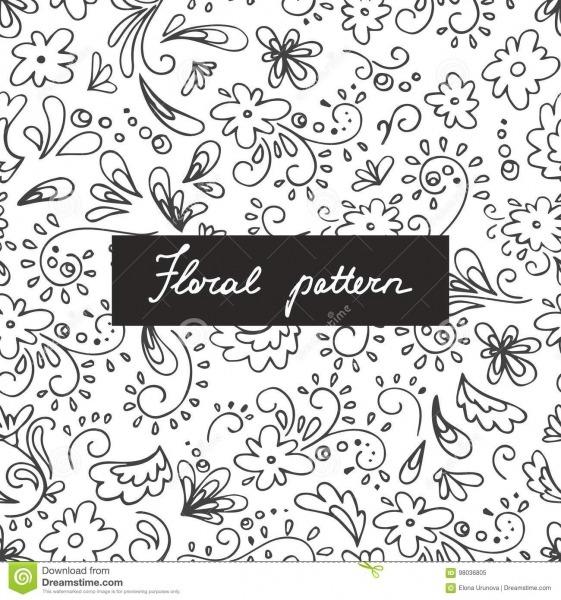 Teste Padrão Sem Emenda Com Plantas E As Flores Pequenas Desenho