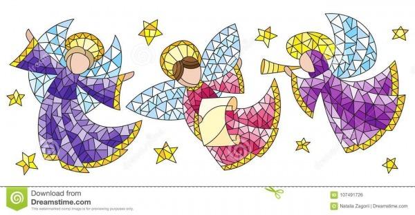 Vitral Ajustado Com Anjos E Estrelas, Figuras Coloridas Em Um