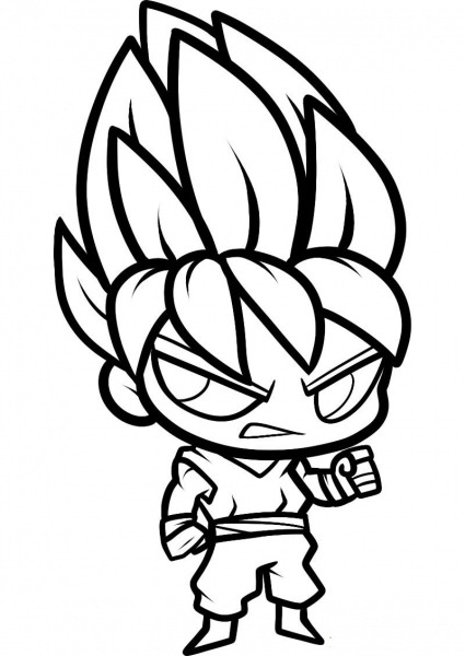 Desenhos De Chibi Goku Super Saiyan Para Colorir E Imprimir