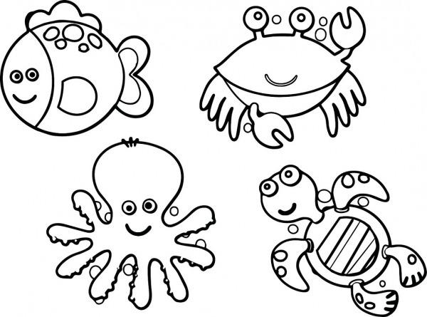 Desenhos De Animais Marinhos Fofos Para Colorir E Imprimir