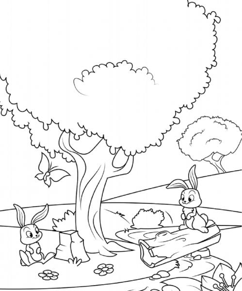 Desenhos De Coelhos Sob A Árvore Para Colorir E Imprimir
