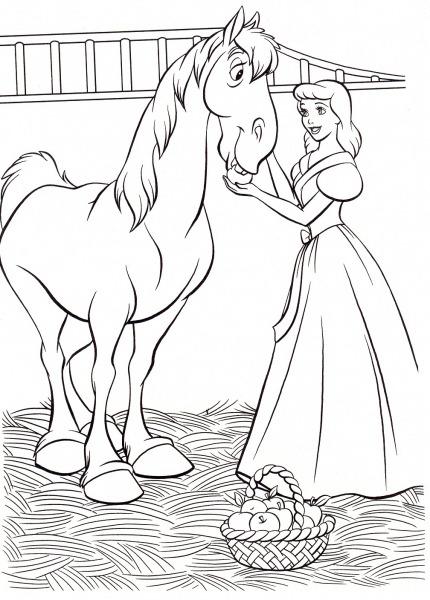 Desenhos De Cinderela Com Cavalo Para Colorir E Imprimir