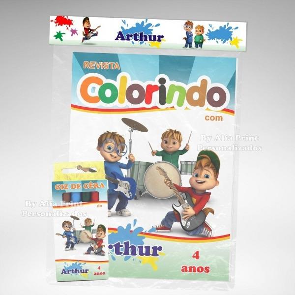 20 Kit Colorir Alvin E Os Esquilos Revista Giz Lembrança