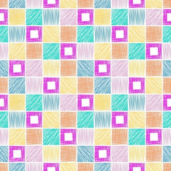 Teste Padrão Geométrico Sem Emenda Com Quadrados  Fundo Colorido
