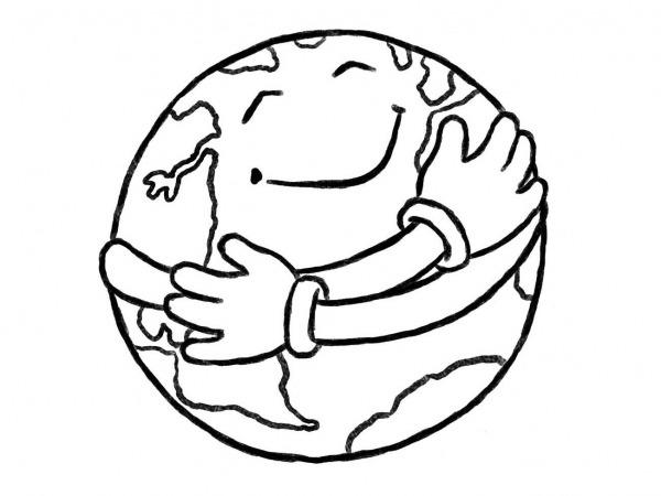 Desenhos Para Colorir Do Planeta Terra Sorrindo 03