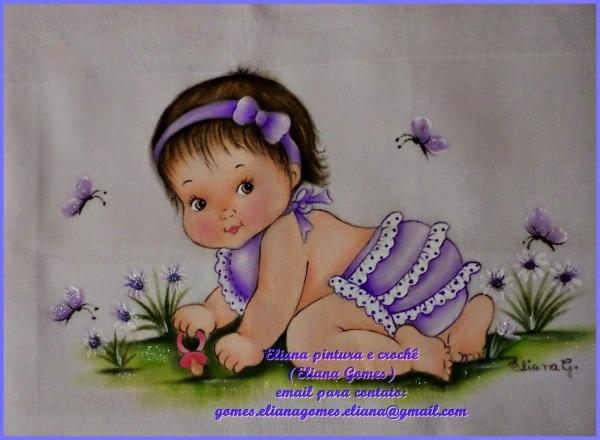 Eliana Pintura E Crochê  Fralda Pintada Com BebÊ Menina