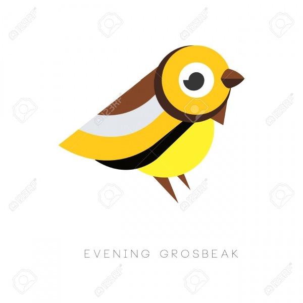 Resumo De Noite Grosbeak  Pássaro Colorido De Figuras Geométricas