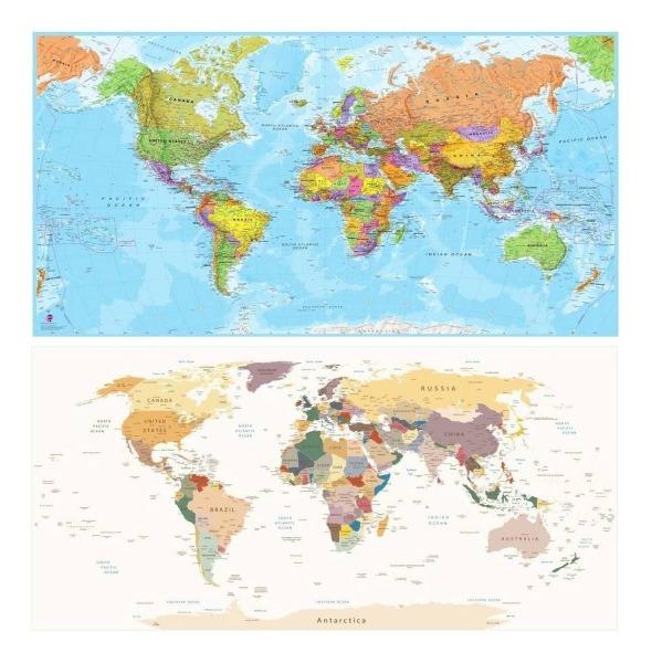 Adesivo Mapa Mundi Papel De Parade Coloridos Auto Colante