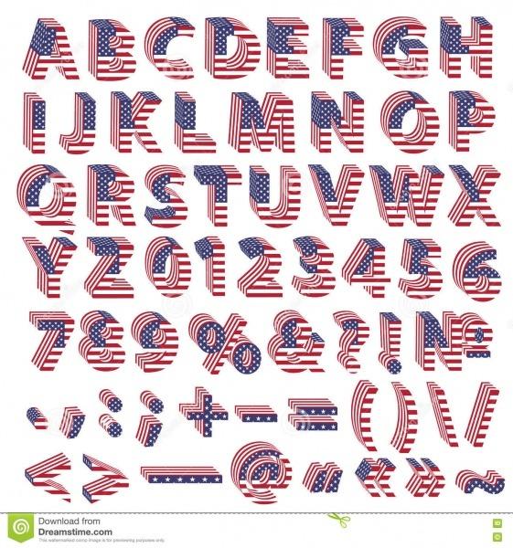 Alfabeto Completo Das Letras Da Bandeira Dos Eua Ilustração Stock