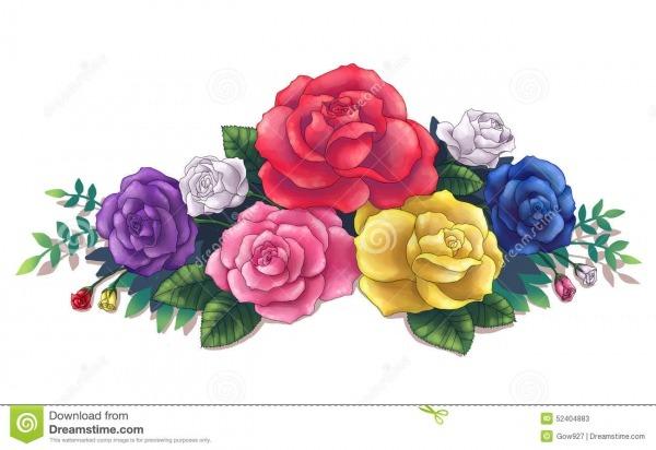 Arte Colorido Del Ejemplo Del Ramo De Las Rosas Stock De