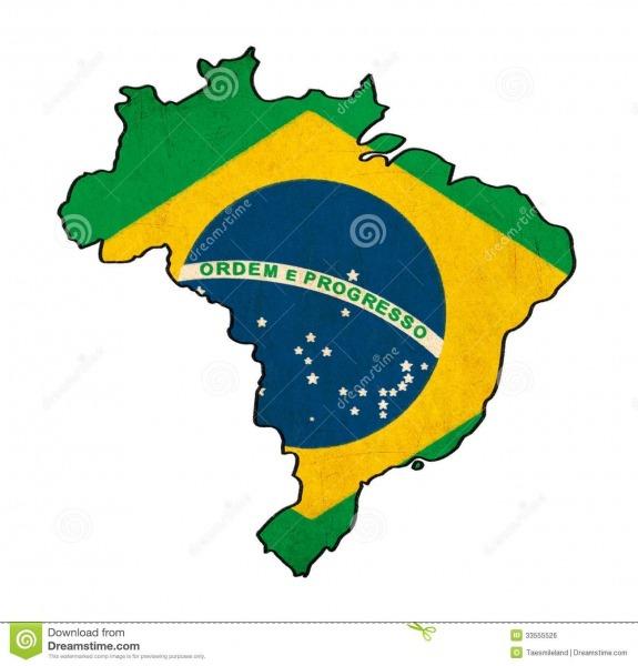 Brazil Map On Brazil Flag Drawing Stock Illustration
