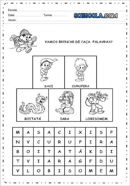 Caça Palavras Do Folclore Para Imprimir — SÓ Escola