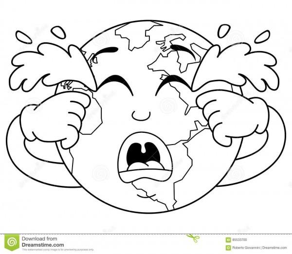 Caráter De Grito Triste Colorindo Da Terra Do Planeta Ilustração