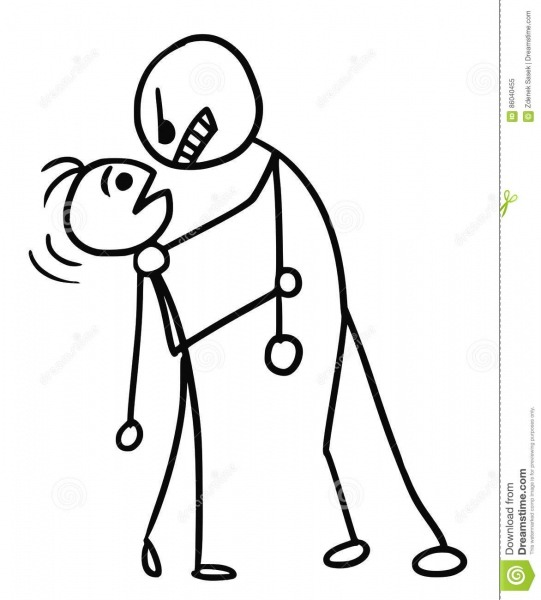 Cartoon Of Smaller Man Attacked By Stronger Man Stock Vector
