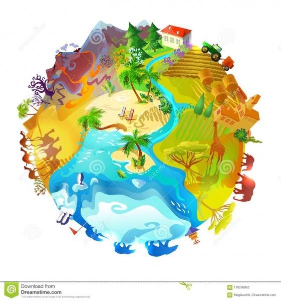 Conceito Da Natureza Do Planeta Da Terra Dos Desenhos Animados