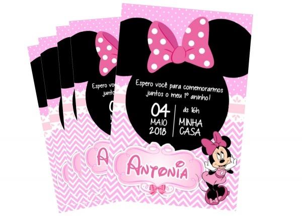 Convite Digital Personalizado Minnie Rosa Zap Imprimir No Elo7