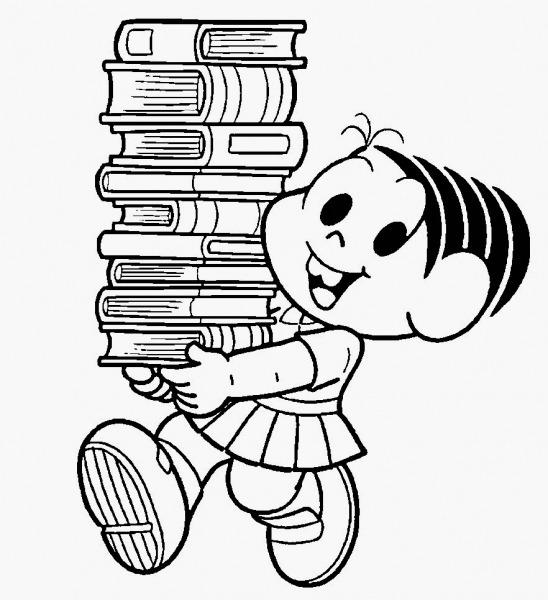 Desenho Mônica Segurando Livros Para Colorir