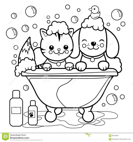 Dog And Cat Taking A Bath  Coloring Book Page  Stock Vector