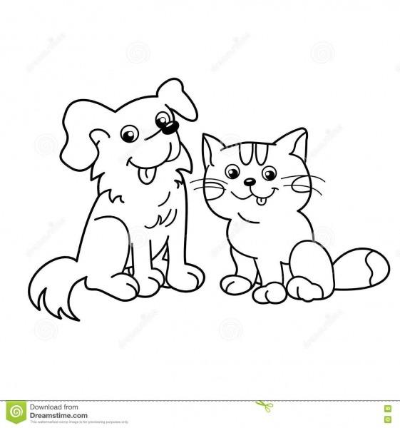 Esboço Da Página Da Coloração Do Gato Dos Desenhos Animados Com