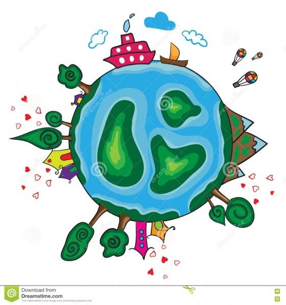 Planeta Da Terra Dos Desenhos Animados Ilustração Do Vetor