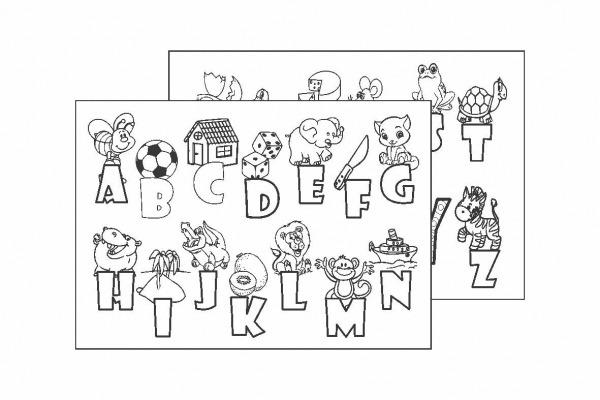 Quadro Alfabeto Para Colorir Kit Com 12 Un  No Elo7