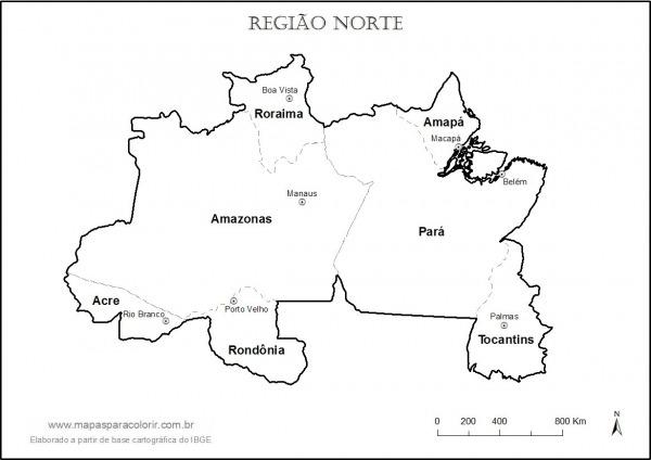 Mapa Da Região Norte Para Colorir