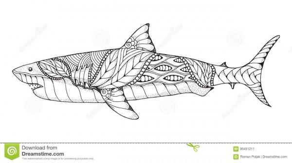 Zentangle E Grande Tubarão Branco Estilizado Pontilhado Vetor