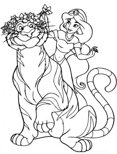 Desenhos De Rajah E Jasmine Para Colorir E Imprimir